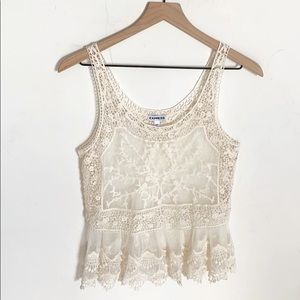 Express Off White Colored Lace and Mesh Tank, XS